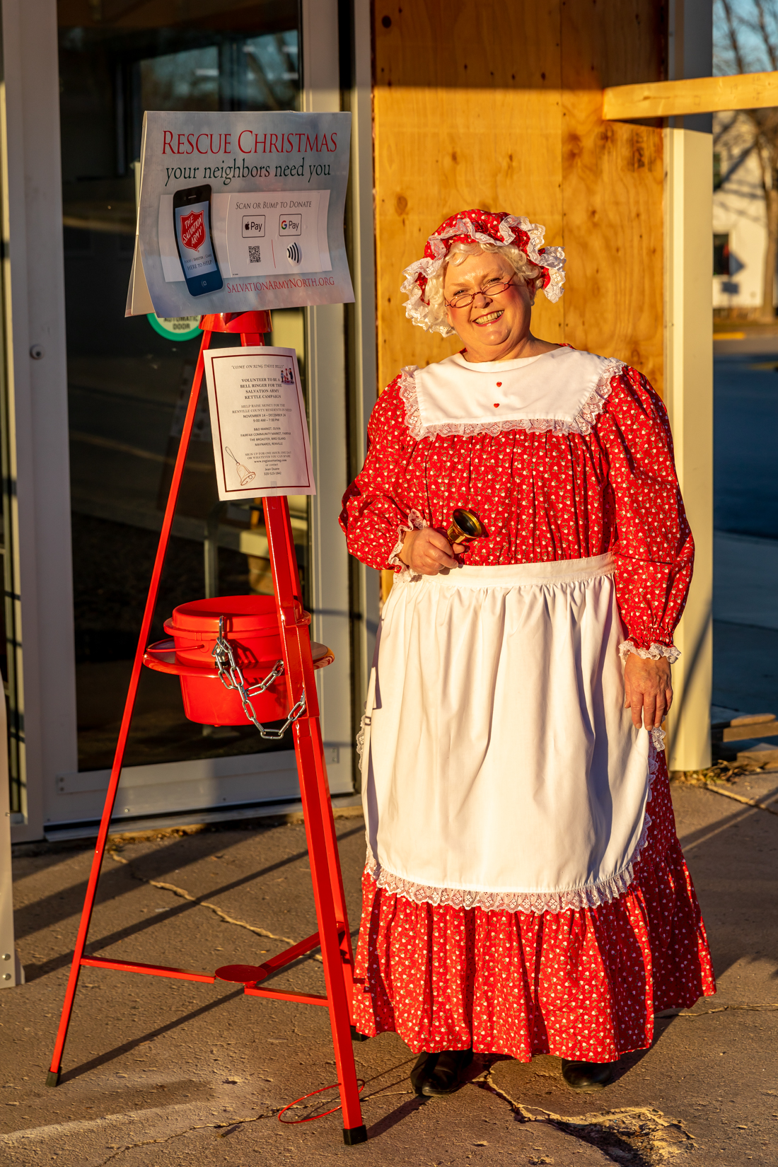 Before Santa arrived in town, Mrs. Claus could be seen ringing her bell at the Fairfax Community Market.