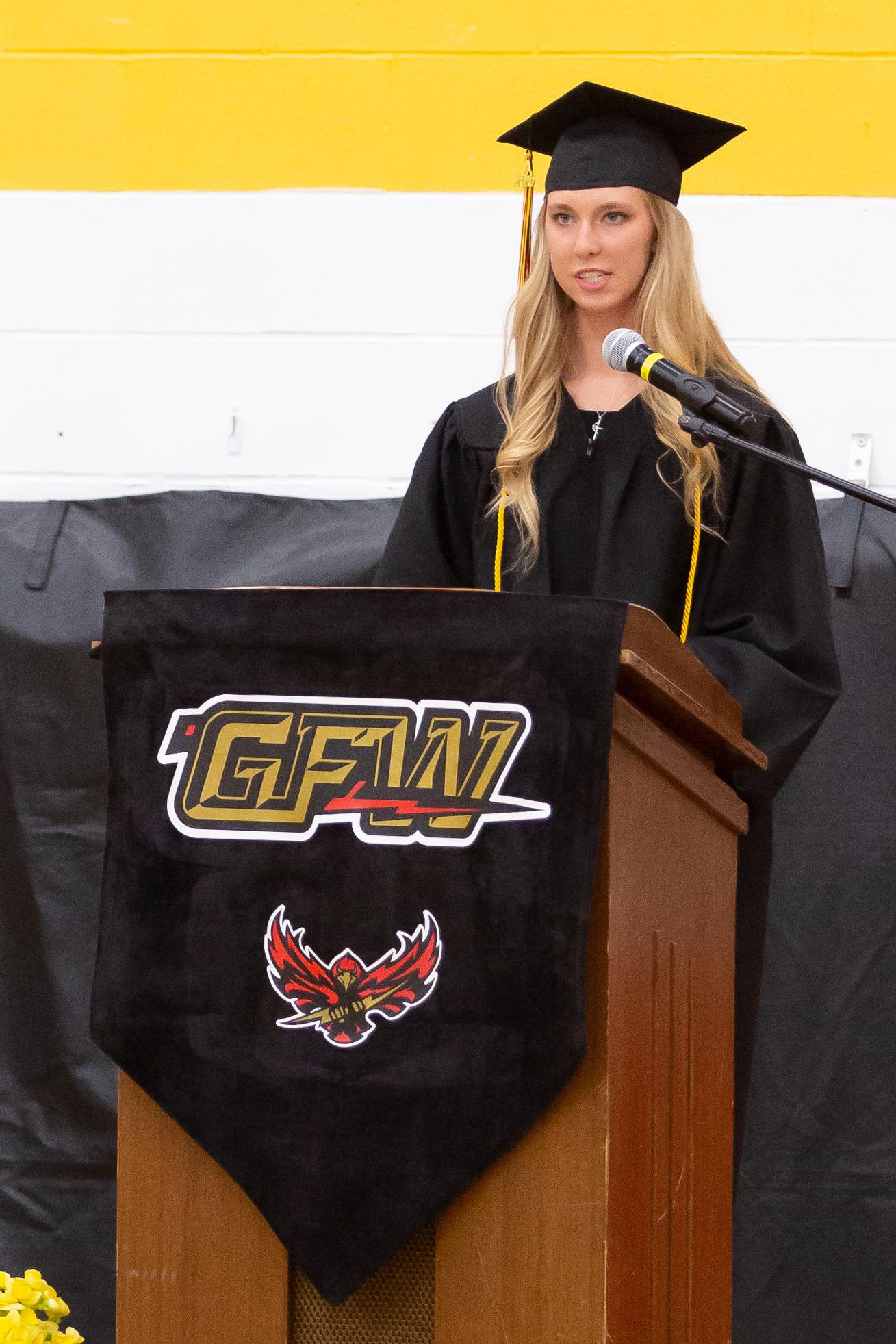 Valedictorian Emily Burns gives her speech.