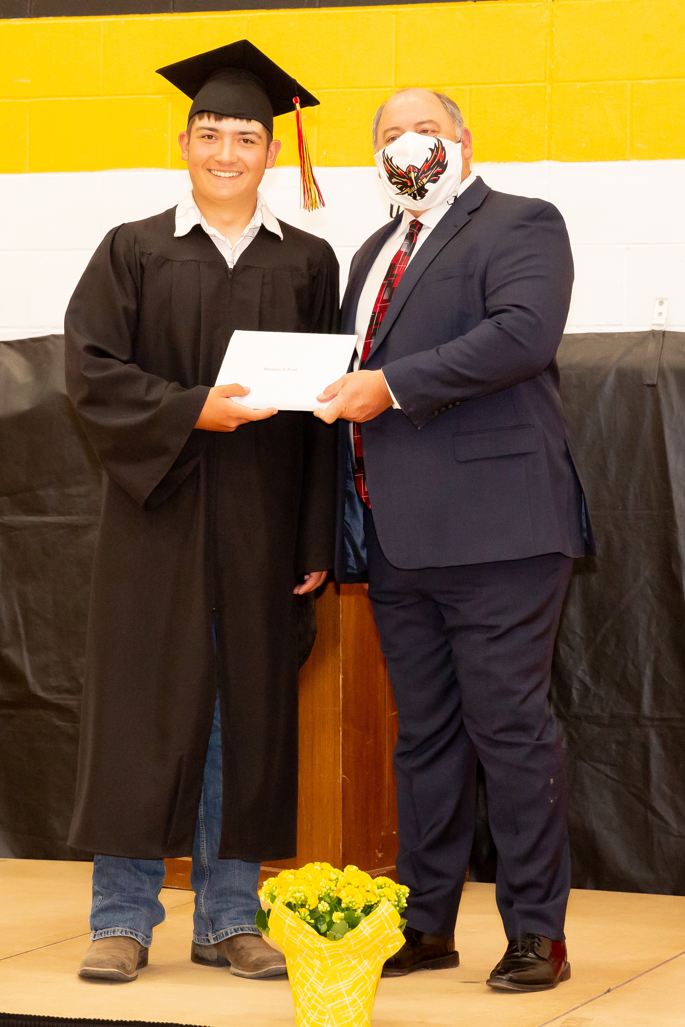 Ben Forst receives his diploma.