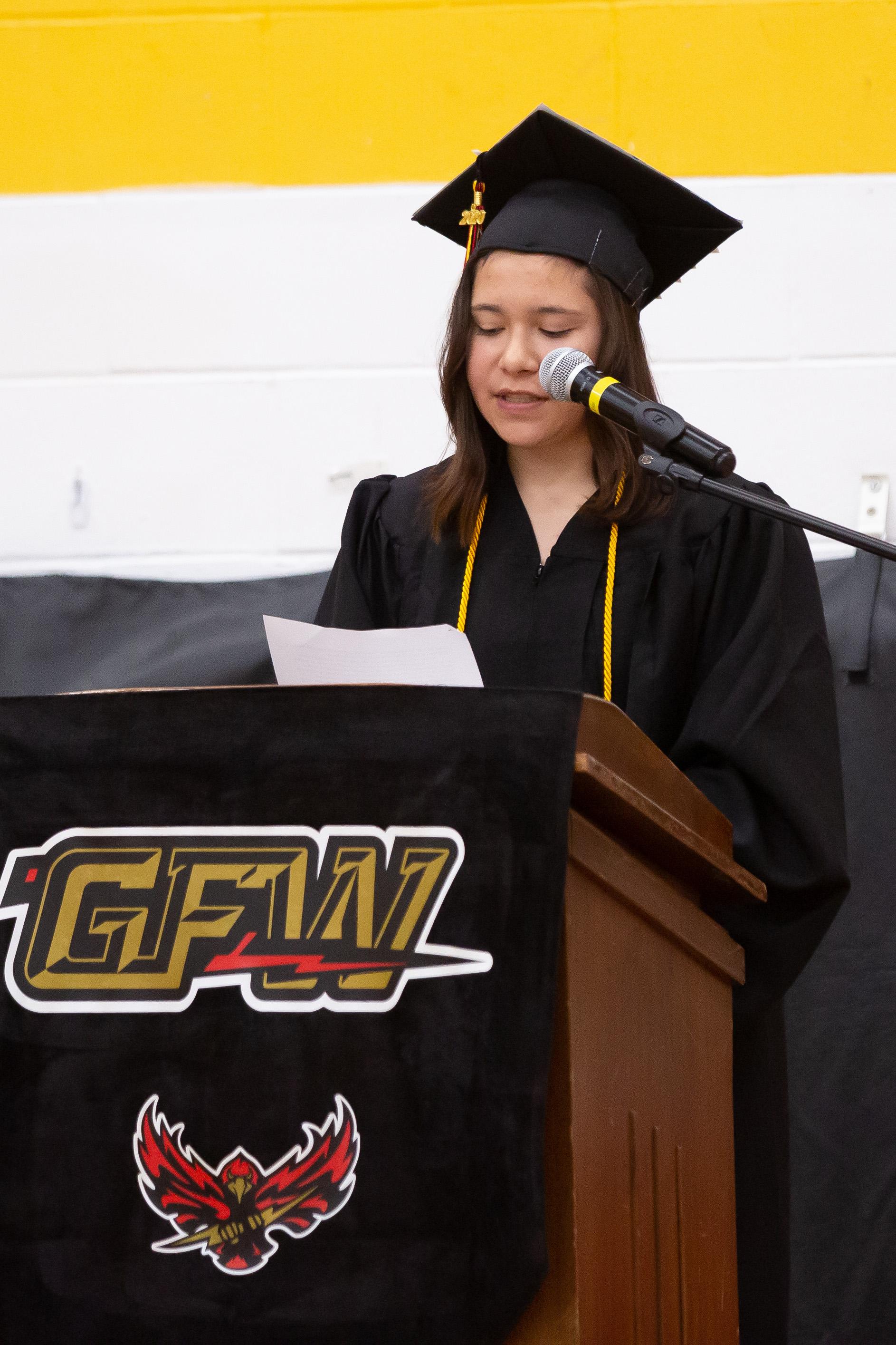 Co-Salutatorian Shelby Ramirez gives her speech.