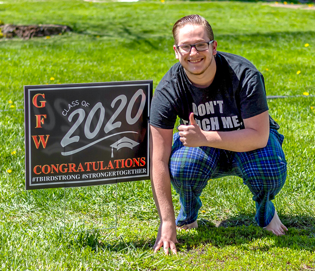 David Dustin with his Class of 2020 sign.