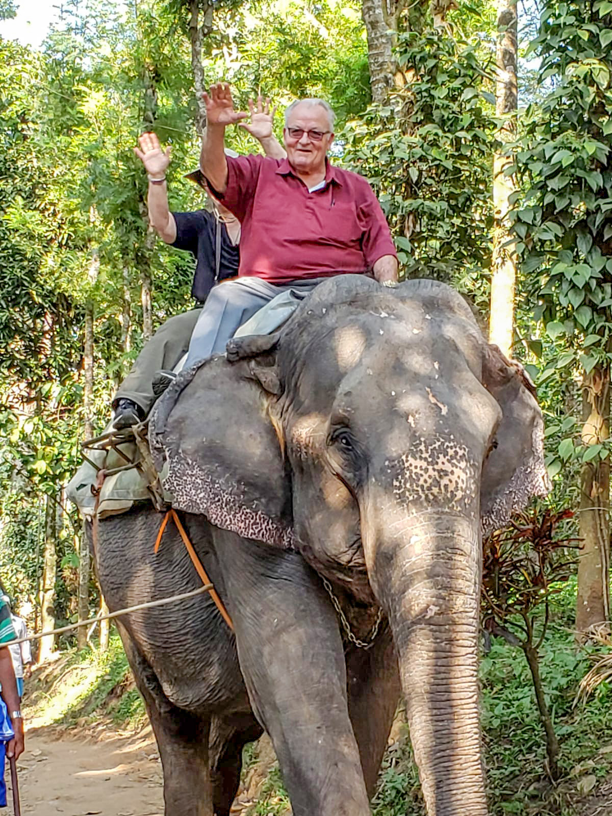 While in India, everyone in the group had an opportunity to ride an elephant. Pictured is George Wendinger of Fairfax during his ride.