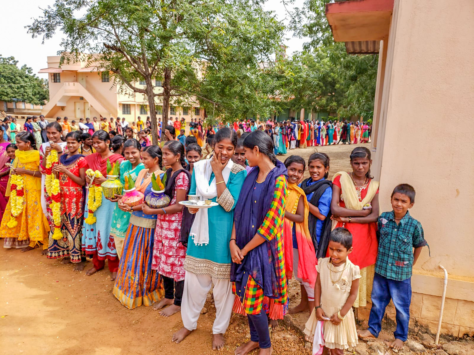 The group visited an orphange while in India. Pictured are the kids that live in the orphanage as they waited for the visitors from Minnesota to arrive.