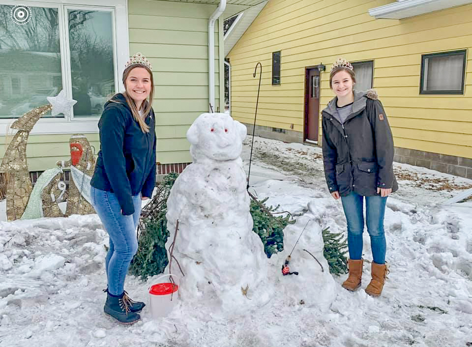 The Snow Sculpture Contest had some great entries this year.  Gibbon Royalty Rylee Sabo and Baleigh Peterson are pictured with the various creations.