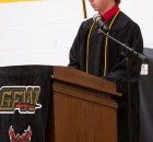 Co-Salutatorian Devon Schwarzrock gives his speech.