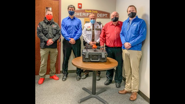 Pictured are (from left) representative from Maverick Drone Systems, Brian Nosbush, Renville County Sheriff Scott Hable, Harlan Helgren, and Shawn Black. (Submitted photo)