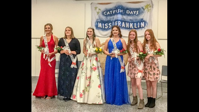 The 2020 Miss Franklin Pageant was held on Friday, July 24 at the Franklin Community Center. Crowned as Miss Franklin 2020-21 was Emma Sullivan. Her court includes (pictured from left) Princesses Megan Sandgren, Emma Bucholz, Sullivan, Tiffany Robertson, and Nicole and Ashley Mitlyng.  (Submitted photo)