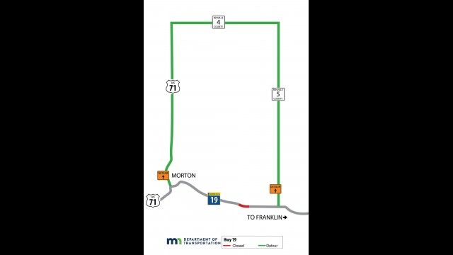 This map shows the detour that will be in place during the slope repairs along Highway 19 that are scheduled to begin next week.
