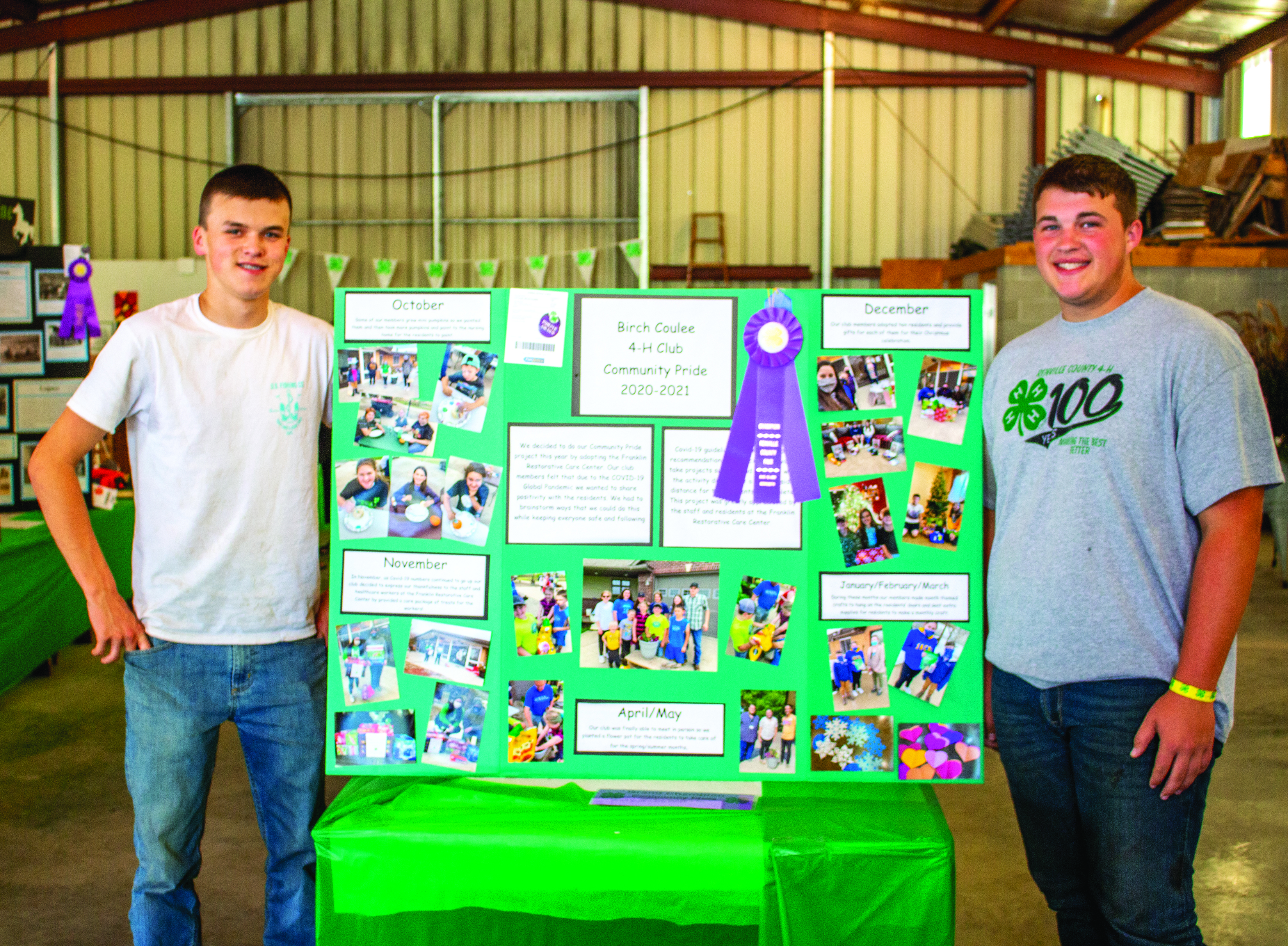 This year, the Birch Coulee 4-H Club earned Grand Champion with their Community Pride project, which involved sharing their time and talents with the residents of the Franklin Restorative Care Center. Pictured are members of the club, Andrew Revier and Keegan Lorang.  (Staff photos by Paul Zaid.)