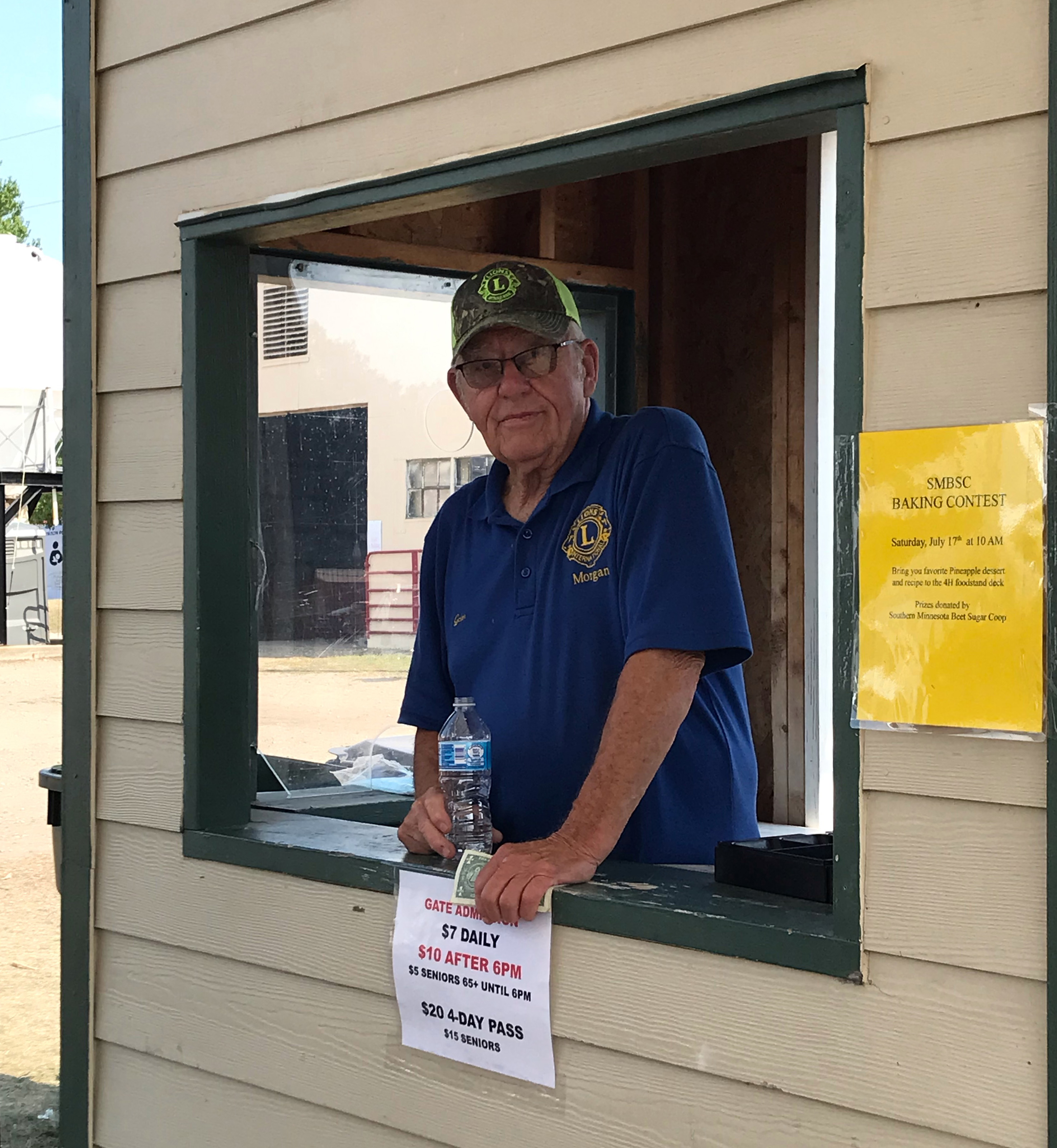 Galen Engholm, a member of the Morgan Lions Club, worked the gate Sunday at the Redwood County Fair.